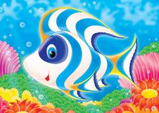 Reef 04. Illustration for children. A series  Reef . Animals of a coral reef. Fish Stock Photo