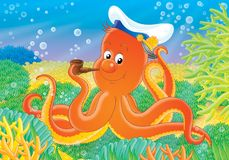 Reef 06. Illustration for children. A series  Reef . Animals of a coral reef. Octopus Royalty Free Stock Images