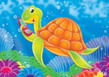 Reef 07. Illustration for children. A series  Reef . Animals of a coral reef. Turtle Royalty Free Stock Photo
