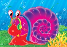 Reef 09. Illustration for children. A series  Reef . Animals of a coral reef. Snail Stock Images
