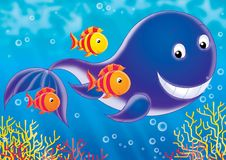 Reef 11. Illustration for children. A series  Reef . Animals of a coral reef. Whale Stock Photography
