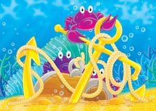 Reef 14. Illustration for children. A series  Reef . Animals of a coral reef. Crabs Stock Images