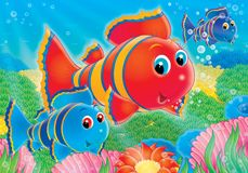 Reef. Illustration for children. A series  Reef . Animals of a coral reef. Fish Stock Photography