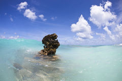 Reef above water of turquoise lagoon Stock Images