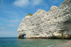 Reef arc in Normandia. White reef arc at limestone coast in Normandia in France Stock Photo