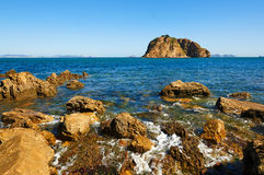 The reef and Bangchui island landscape dalian Royalty Free Stock Photography