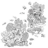Reef Corals and Fishes. Hand drawn underwater natural elements. Sketch of reef corals and swimming fishes. Monochrome coral colony on rock. Black and white Royalty Free Stock Image