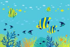 Reef fish, coral, sea. Cartoon underwater sea - school of reef fishes and corals on a blue ocean background. Vector illustration Stock Photography