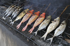 Reef fish on an indonesian barbecue Royalty Free Stock Image