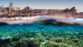 Reef and Hotel. Split-Shot of Hotel Reef in Sharm el Sheikh, Red Sea, Egypt royalty free stock photos