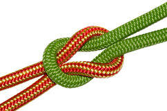 Reef knot, yellow and green ropes Royalty Free Stock Photography