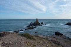 The reef of the mermaids in the cape de gata. Spain Royalty Free Stock Images