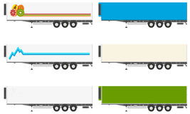 Reefer semitrailer. Set of isolated refrigerators semi-trailers with a logo and a picture of a white background. Vector illustration Stock Photos