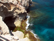 Reefs. Cliffs on the coast of the Malorca Island southeast Stock Image