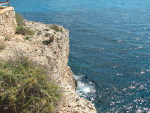 Reefs. Cliffs on the coast of the Malorca Island southeast Royalty Free Stock Photo