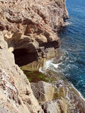 Reefs. Cliffs on the coast of the Malorca Island southeast Royalty Free Stock Photography