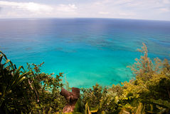 Reefs on Kauai. The Pacific Ocean reefs from the Kalalau Trail Lookout on the island of Kauai, Hawaii Stock Photos