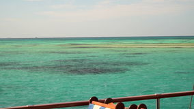 The reefs in the turquoise waters of the Red Sea. The view from the deck of a yacht.  stock video