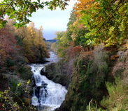 Reekie Linn nahe Kirriemuir, Angus, Schottland Lizenzfreies Stockbild