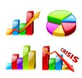 Reeks 1 glazige grafieken met diagram Stock Foto's