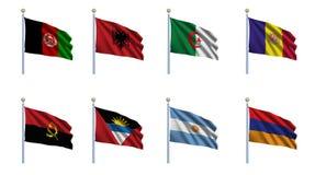 Reeks 1 van de Vlag van de wereld Royalty-vrije Stock Afbeeldingen