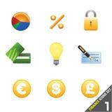 reeks 1 van het financiënpictogram Stock Foto's