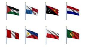 Reeks 18 van de Vlag van de wereld Stock Afbeeldingen