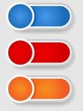 Reeks 2 cirkel en cilinderetiketten Stock Foto