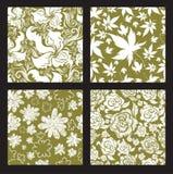 Reeks 2 van naadloos uitstekend bloemenpatroon royalty-vrije illustratie