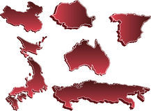 Reeks 3D Kaarten van het Land vector illustratie