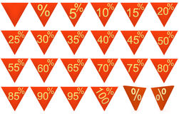 Reeks 3D teruggegeven verkoopsymbolen, rood, goud Royalty-vrije Stock Foto's