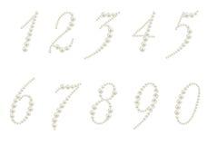 Reeks aantallen die van parels worden gemaakt Stock Foto's