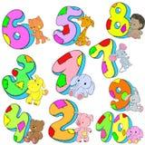 Reeks aantallen voor gelukwensen Datum van Geboorte Gelukkige Verjaardag Royalty-vrije Stock Foto