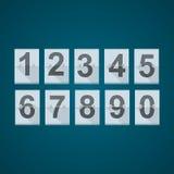 Reeks aantallen voor mechanisch scorebord Stock Foto