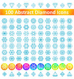 Reeks 100 Abstract Diamond Icons Royalty-vrije Stock Foto's