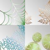 Reeks abstracte achtergronden van hun spinnewebben, bladeren, mandarin en krullen op een grijze achtergrond vector illustratie