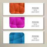Reeks 3 abstracte banner met driehoeksachtergrond Royalty-vrije Stock Afbeeldingen