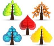 Reeks abstracte bomen Stock Foto