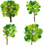 Reeks abstracte bomen Stock Foto's