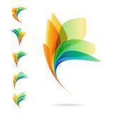 Reeks abstracte elementen, emblemen van bloemblaadjes Stock Afbeeldingen