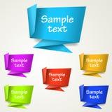 Reeks abstracte etiketten van de origamimarkering Royalty-vrije Stock Afbeelding