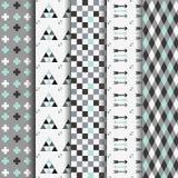 Reeks abstracte geometrische Azteekse naadloze patronen Stock Afbeeldingen