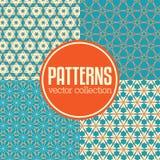 Reeks abstracte geometrische patroonachtergronden Stock Foto