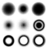 Reeks Abstracte Halftone Cirkels van Ontwerpelementen Stock Foto
