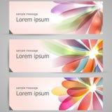 Reeks abstracte kleurrijke banners Stock Foto