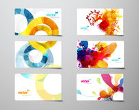 Reeks abstracte kleurrijke plons en cirkelgiftkaarten stock illustratie