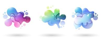 Reeks abstracte moderne grafische elementen Dynamische gekleurde vormen en lijn stock afbeelding