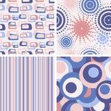 Reeks abstracte naadloze lilac patronen Stock Afbeeldingen