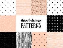 Reeks abstracte naadloze patronen in roze, wit en zwarte Royalty-vrije Stock Afbeelding
