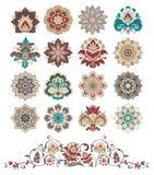 Reeks abstracte ontwerp bloemenelementen. stock illustratie